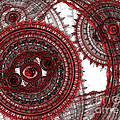 Red mechanical fractal Print by Martin Capek