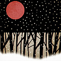 Red Moon and Snow Poster by Carol Leigh