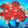 Red Poppies and White Daisies Poster by Ramona Matei