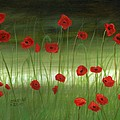 red poppies in the woods Print by Cecilia  Brendel