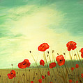 Red poppy field with green sky Print by Cecilia  Brendel