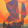Red Sails In The Sunset Poster by Tracey Harrington-Simpson