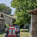 Red Tractor on a French Farm Poster by Nomad Art And  Design