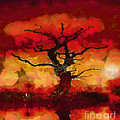 Red tree of life Print by Pixel Chimp