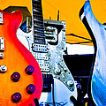 Red White and Blue Guitars Print by David Patterson
