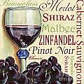 Red Wine Text Print by Debbie DeWitt