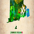 Rhode Island Watercolor Map Print by Naxart Studio