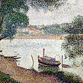 River Landscape with a boat Print by Georges Pierre Seurat