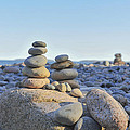 Rock Piles Zen Stones Little Hunters Beach Maine Print by Terry DeLuco