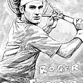 Roger federer art drawing sketch portrait Print by Kim Wang