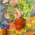 Roses And Pansies Print by Julia Rowntree