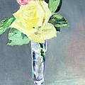 Roses in a Champagne Glass Poster by Edouard Manet