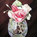 Roses in the Glass Vase Poster by Irina Sztukowski