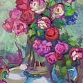 Roses In Two Vases Print by Diane McClary