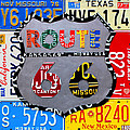 Route 66 Highway Road Sign License Plate Art Poster by Design Turnpike