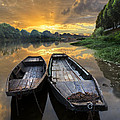 Rowboats on the River Print by Debra and Dave Vanderlaan