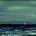 Sailboats across a rough surf Ventura Print by Cathy Peterson