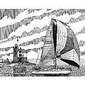 Holland Harbor Lighthouse and spinaker flying sailboat Poster by Jack Pumphrey