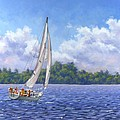 Sailing the Reach Print by Richard De Wolfe