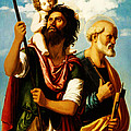 Saint Christopher with Saint Peter Print by Digital Reproductions