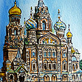 Saint Petersburg Russia The Church of Our Savior on the Spilled Blood Print by Irina Sztukowski