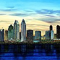 SAN DIEGO SKYLINE AND CORONADO AT DUSK U.S.A Poster by John YATO