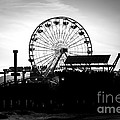 Santa Monica Ferris Wheel Black and White Photo Print by Paul Velgos