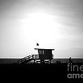 Santa Monica Lifeguard Tower in Black and White Poster by Paul Velgos