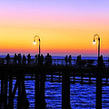 Santa Monica Pier Sunset Silhouettes Poster by Lynn Bauer