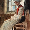 Scandinavian Peasant Woman in an Interior Print by Alexandre Lunois