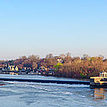 Schuylkill River at Boathouse Row and  the Fairmount Waterworks Print by Bill Cannon