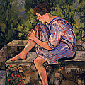 Seated Young Woman Print by Marie Clementine Valadon