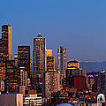 Seattle Winter Evening Panorama Print by Inge Johnsson