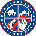 Security CCTV Camera Gun Fist Hand Circle Print by Aloysius Patrimonio