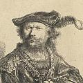 Self Portrait in a Velvet Cap with Plume Poster by Rembrandt