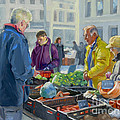 Selling vegetables at the market Poster by Dominique Amendola
