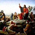 Sermon On The Mount Watercolor Poster by Carl Bloch