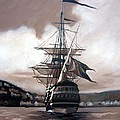 Ship in sepia Print by Janet King