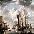Shipping in a Calm at Flushing wiht a States general Yacht Firing a Salute Print by Jan van de Cappelle