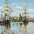 Ships Riding on the Seine at Rouen Poster by Claude Monet