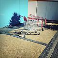 Shopping trolleys  Poster by Les Cunliffe