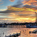 Shrimp Boats at Sunset Print by Benanne Stiens