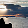Silhouette of Dunluce Castle Print by Semmick Photo