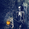Skeleton With Jack O Lantern Poster by Christopher and Amanda Elwell