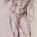 Sketch of David with his Sling Print by Michelangelo Buonarroti