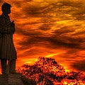 Sky Fire - West Virginia at Gettysburg - 7th WV Volunteer Infantry Vigilance on East Cemetery Hill Print by Michael Mazaika