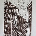 Skyscrapers - Block Print Print by Christiane Schulze