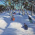 Sledging at Ladmanlow Print by Andrew Macara
