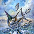 Small Tuna And Blue Marlin Jumping Print by Terry Fox