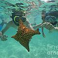 Snorkellers holding a four legs starfish Print by Sami Sarkis